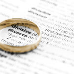 A wedding ring over the word divorce.